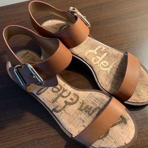 Sam Edelman Brown Leather Block Heel Sandals